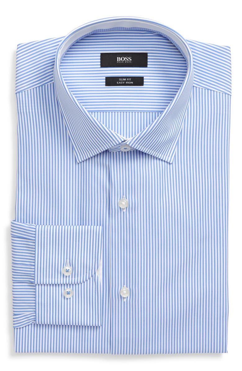 BOSS Slim Fit Easy Iron Stripe Dress Shirt, Main, color, BLUE