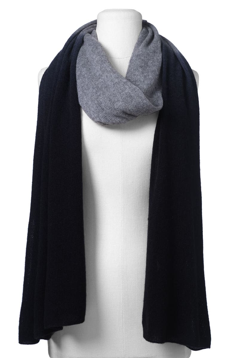 NORDSTROM 'Airy' Dip Dye Cashmere Wrap, Main, color, 001