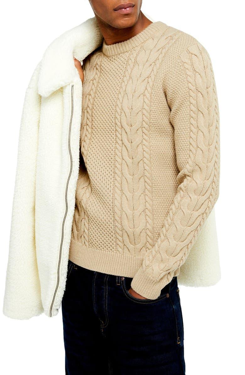 TOPMAN Crewneck Cable Knit Sweater, Main, color, STONE