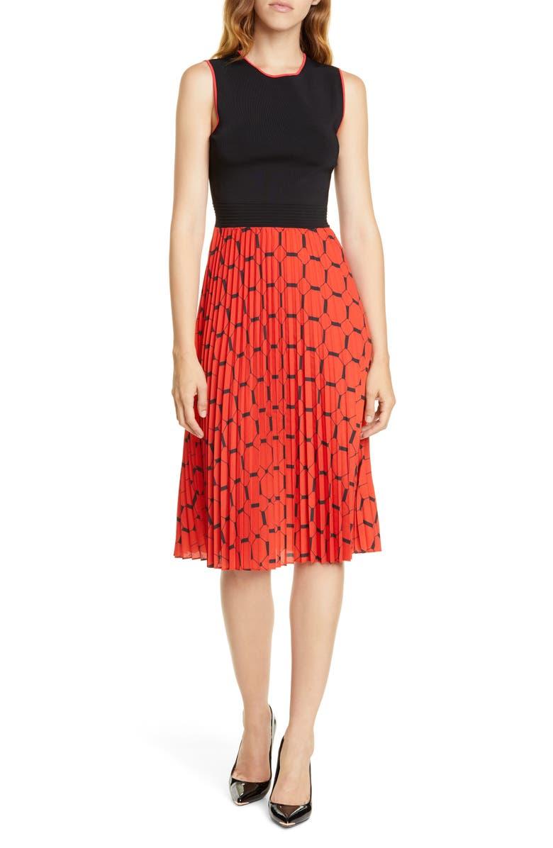 TED BAKER LONDON Philisa Tile Print Sleeveless Dress, Main, color, BLACK