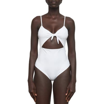 Mara Hoffman Kia Cutout One-Piece Swimsuit, White