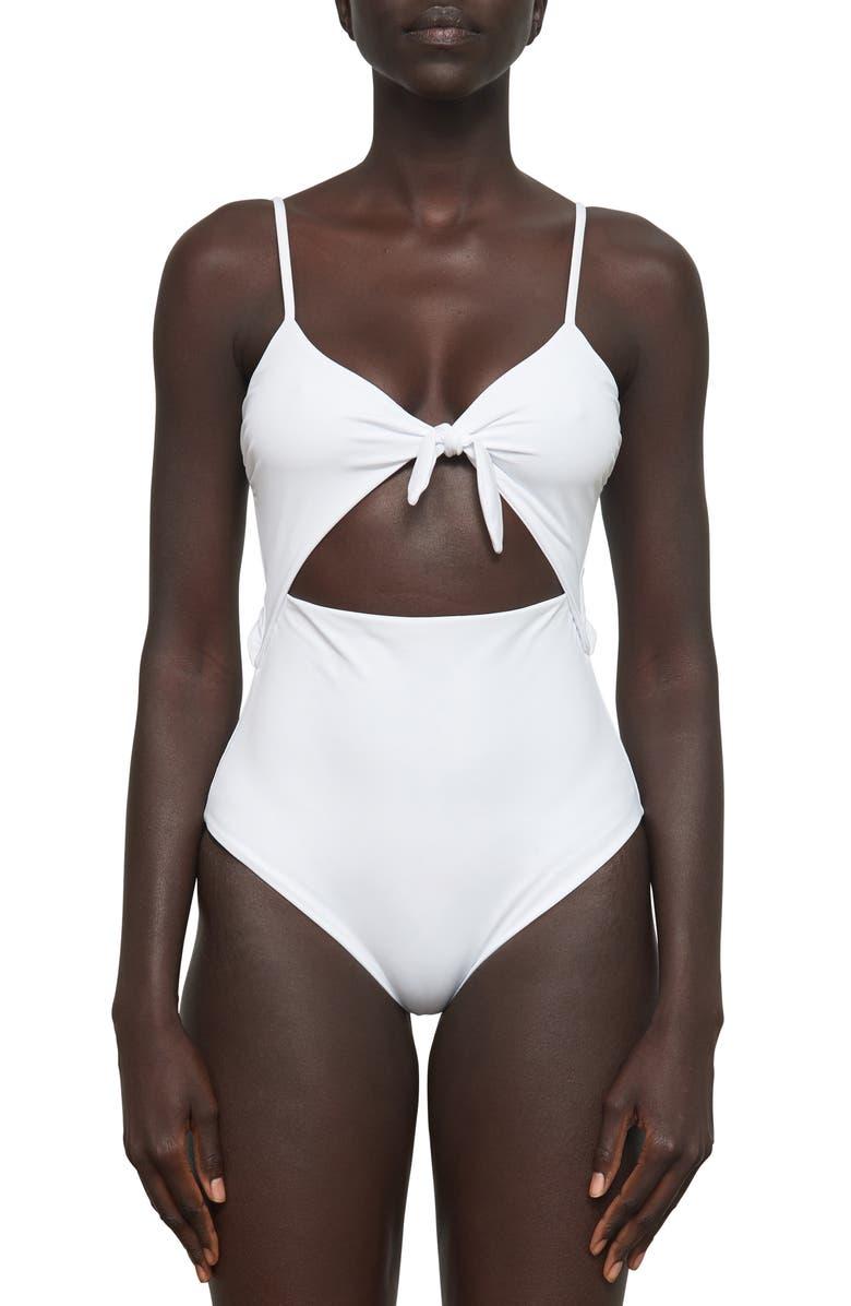 MARA HOFFMAN Kia Cutout One-Piece Swimsuit, Main, color, BIANCO