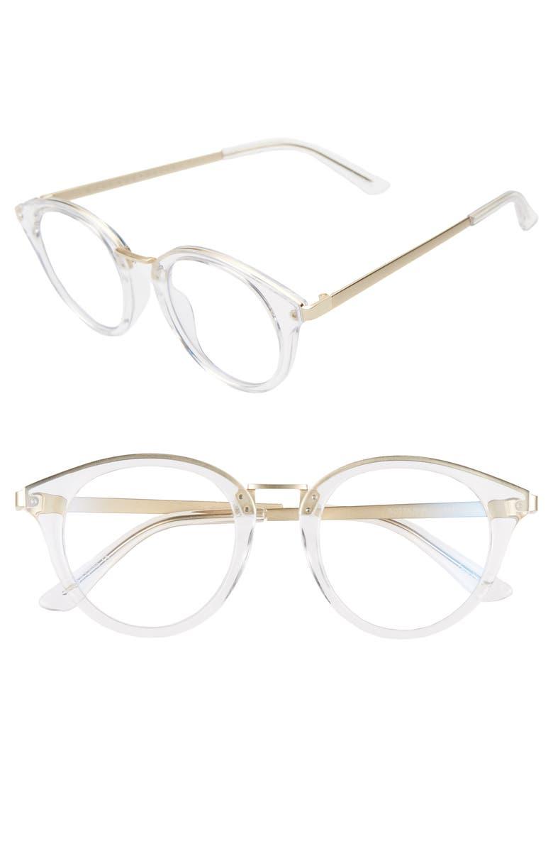QUAY AUSTRALIA Gotta Run 46mm Blue Light Blocking Glasses, Main, color, CLEAR/ BLUE LIGHT