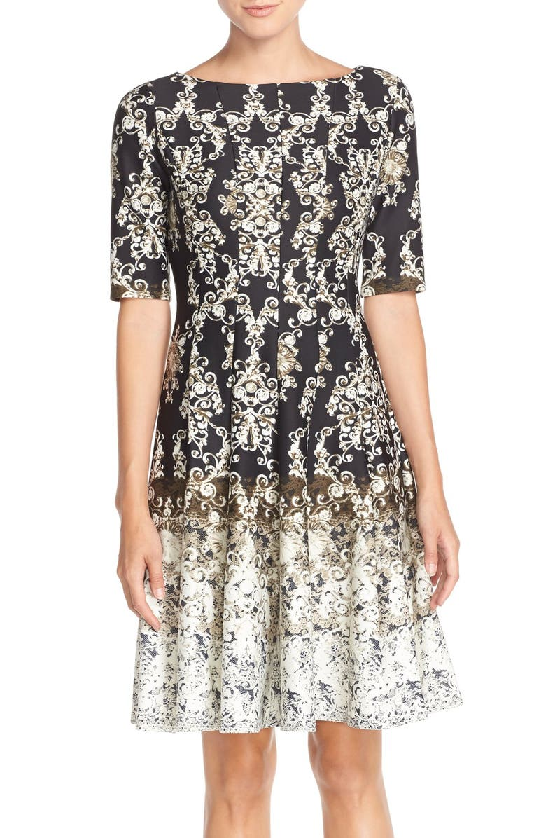 GABBY SKYE 'Baroque' Print Scuba Fit & Flare Dress, Main, color, 001