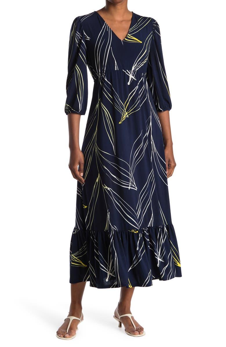 LOVE BY DESIGN Bella Printed Flounce Hem Maxi Dress, Main, color, AS SAMPLE