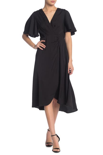Image of ASTR the Label Pleated Surplice Neck Ruche Dress