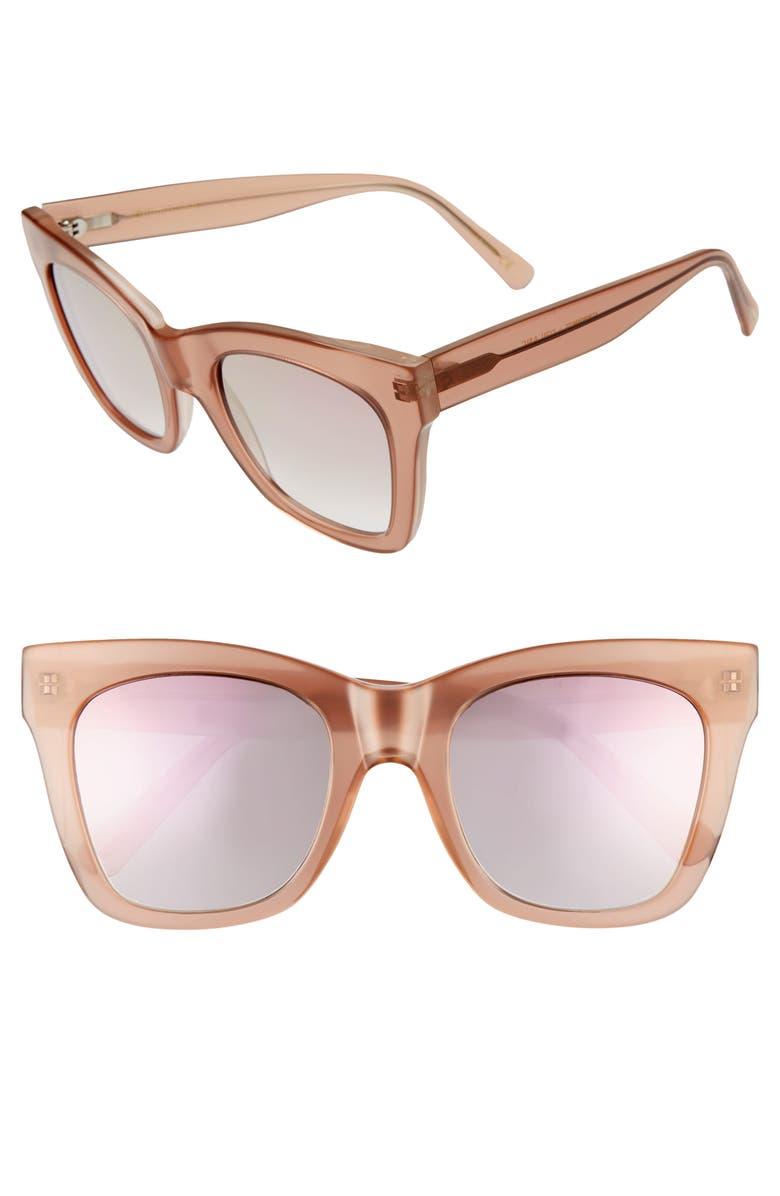 D'BLANC Beach Vida 53mm Square Cat Eye Sunglasses, Main, color, AMUSE DESERT ROSE FLASH