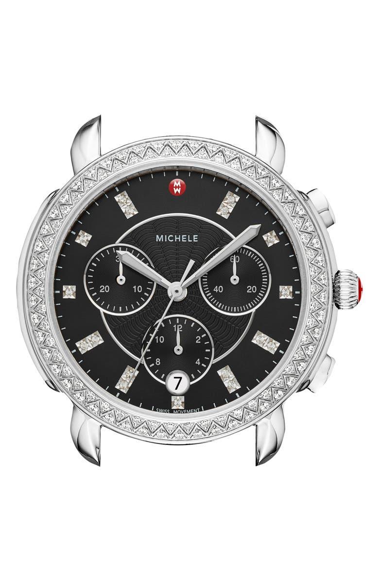 MICHELE Sidney Chrono Diamond Diamond Dial Watch Case, 38mm, Main, color, SILVER/ BLACK MOP/ SILVER
