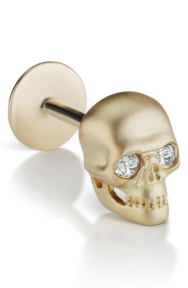MARIA TASH Matte Skull Threaded Stud Earring with Diamonds, Main, color, YELLOW GOLD/ DIAMOND