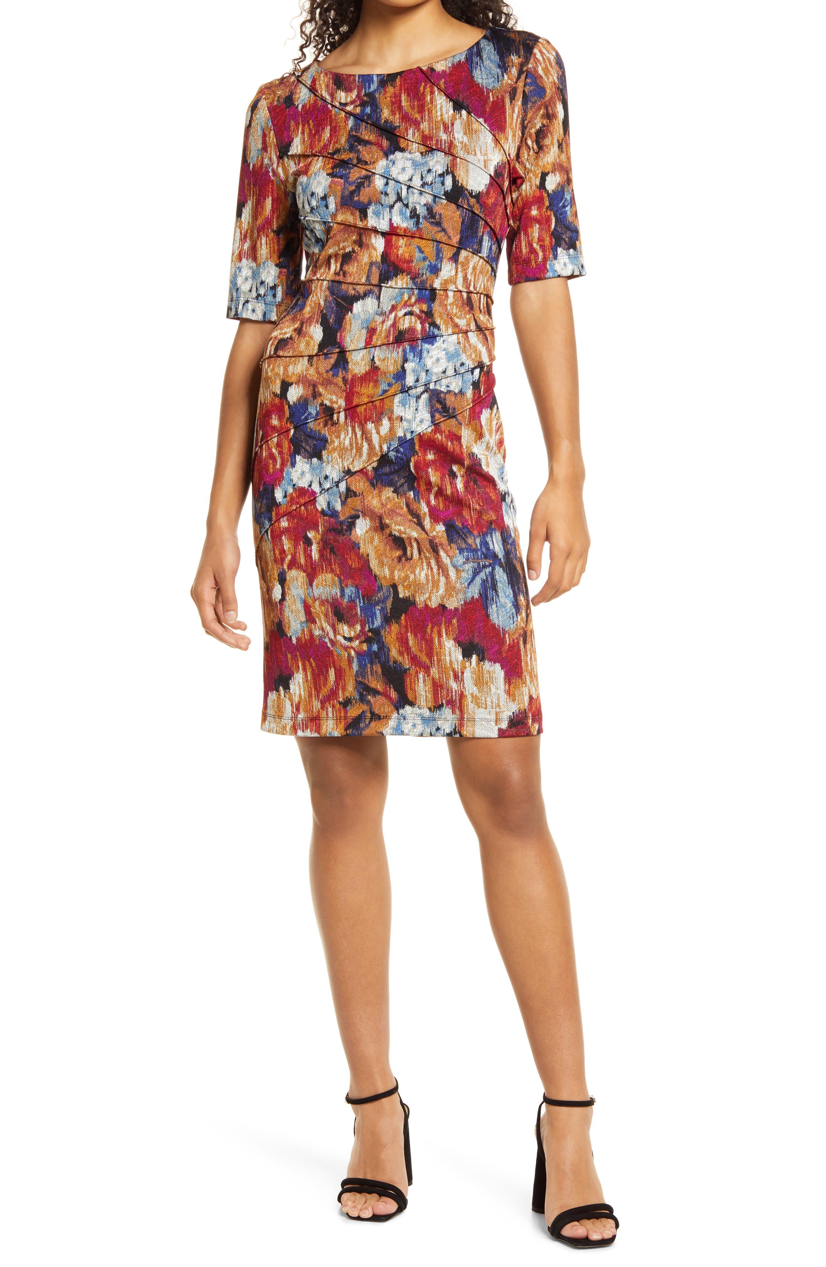 Floral Paneled Stretch Crepe A-Line Dress