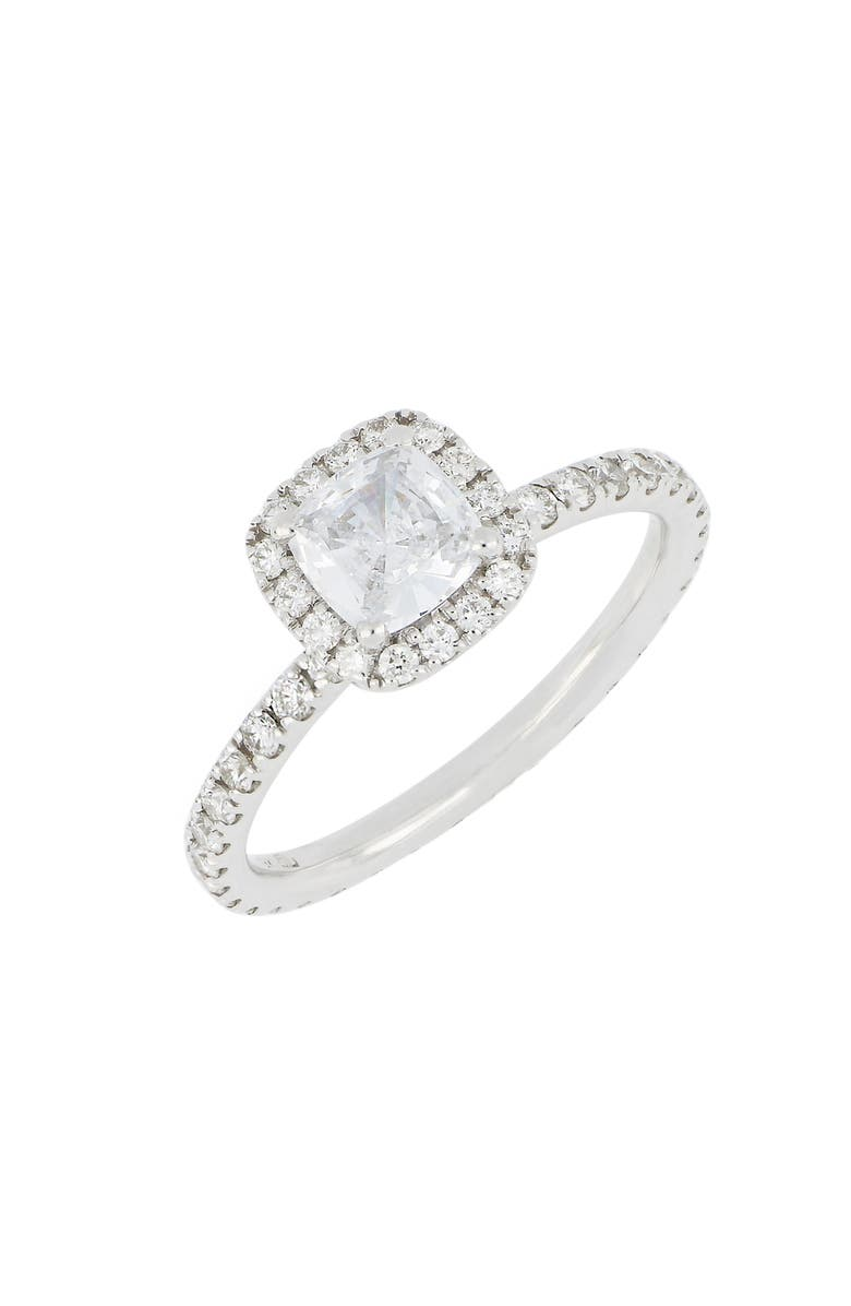 BONY LEVY Pavé Diamond Halo Cushion Engagement Ring Setting, Main, color, WHITE GOLD
