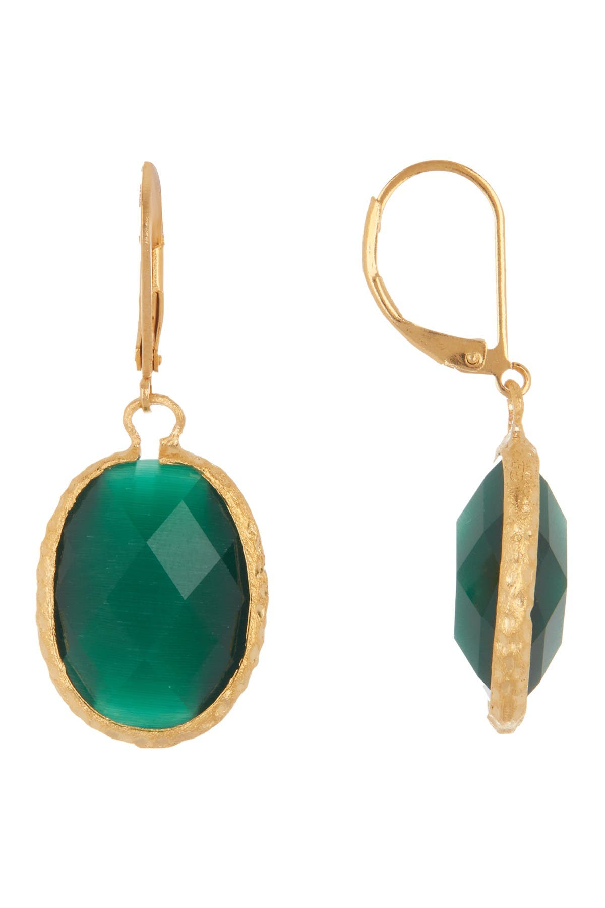 Image of Rivka Friedman 18K Gold Clad Faceted Dark Green Cat's Eye Crystal Satin Oval Hammered Earrings