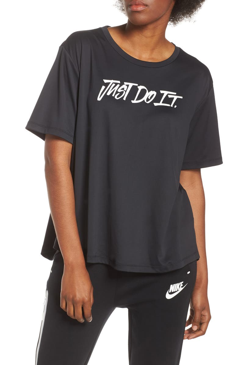 NIKE Dry Just Do It Split Back Tee, Main, color, 010