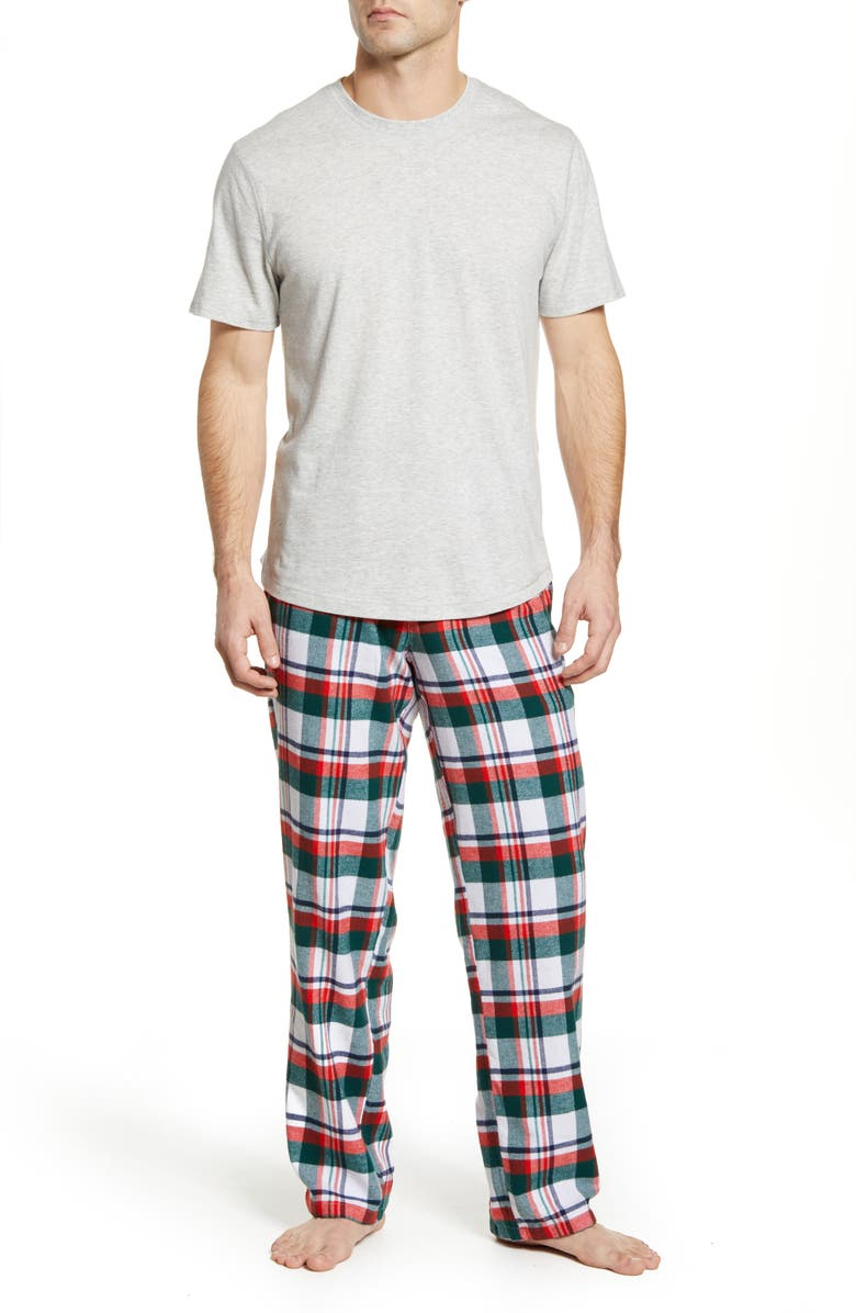 RACHEL PARCELL Thermal & Flannel Men's Pajamas, Main, color, GREEN BOTANICAL WINTER PLAID