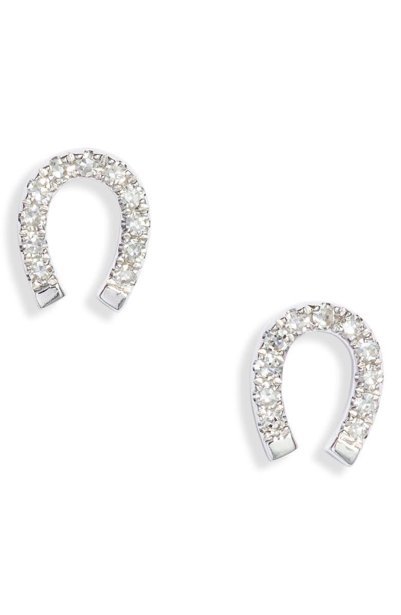 EF COLLECTION Diamond Mini Horseshoe Stud Earrings, Main, color, WHITE GOLD/ DIAMOND