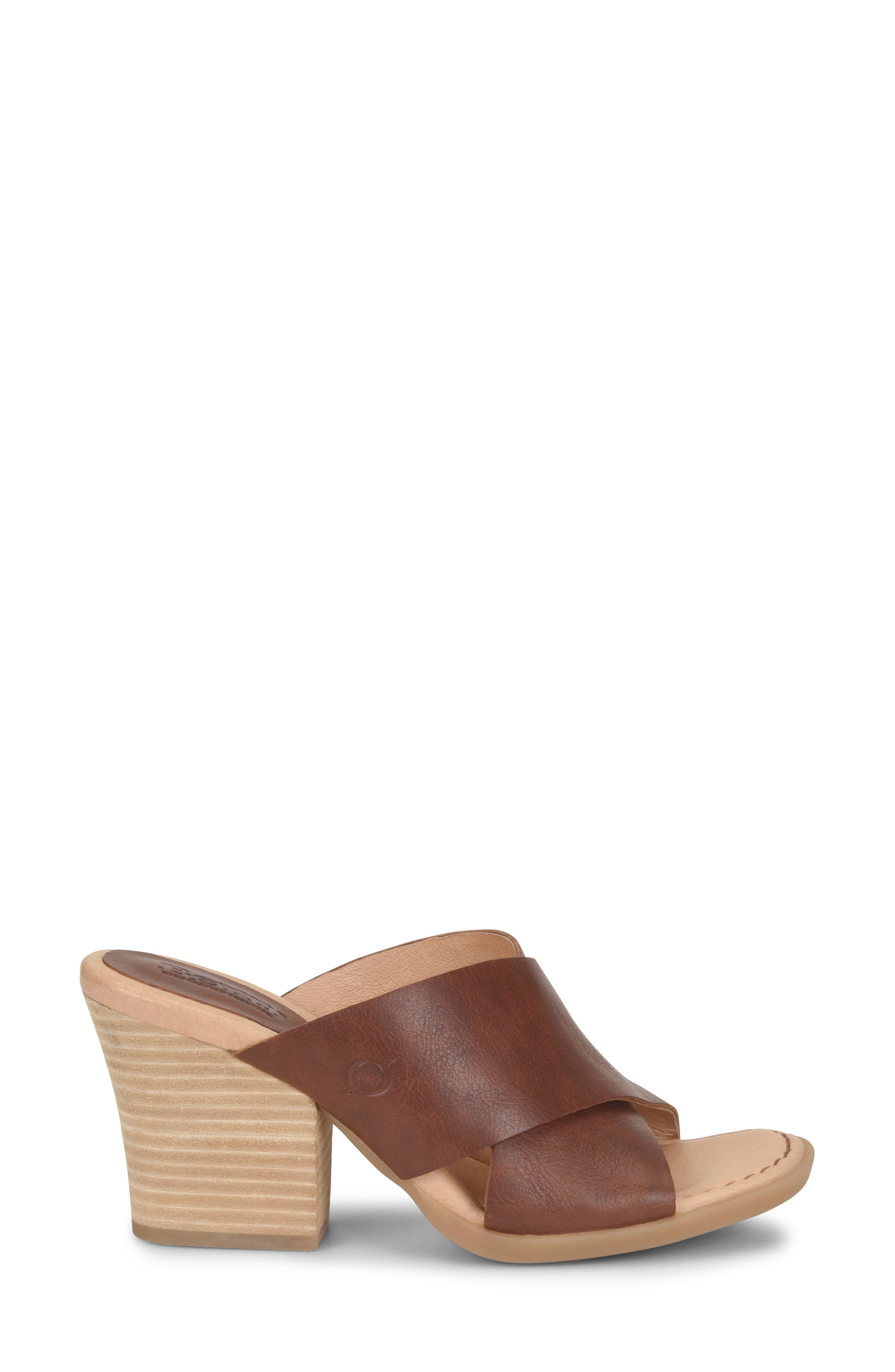 ,                             Madison Cross Strap Slide Sandal,                             Alternate thumbnail 3, color,                             BROWN LEATHER