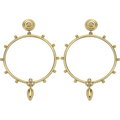 Temple St. Clair 18K Gold & Diamond Circle Anfora Earrings