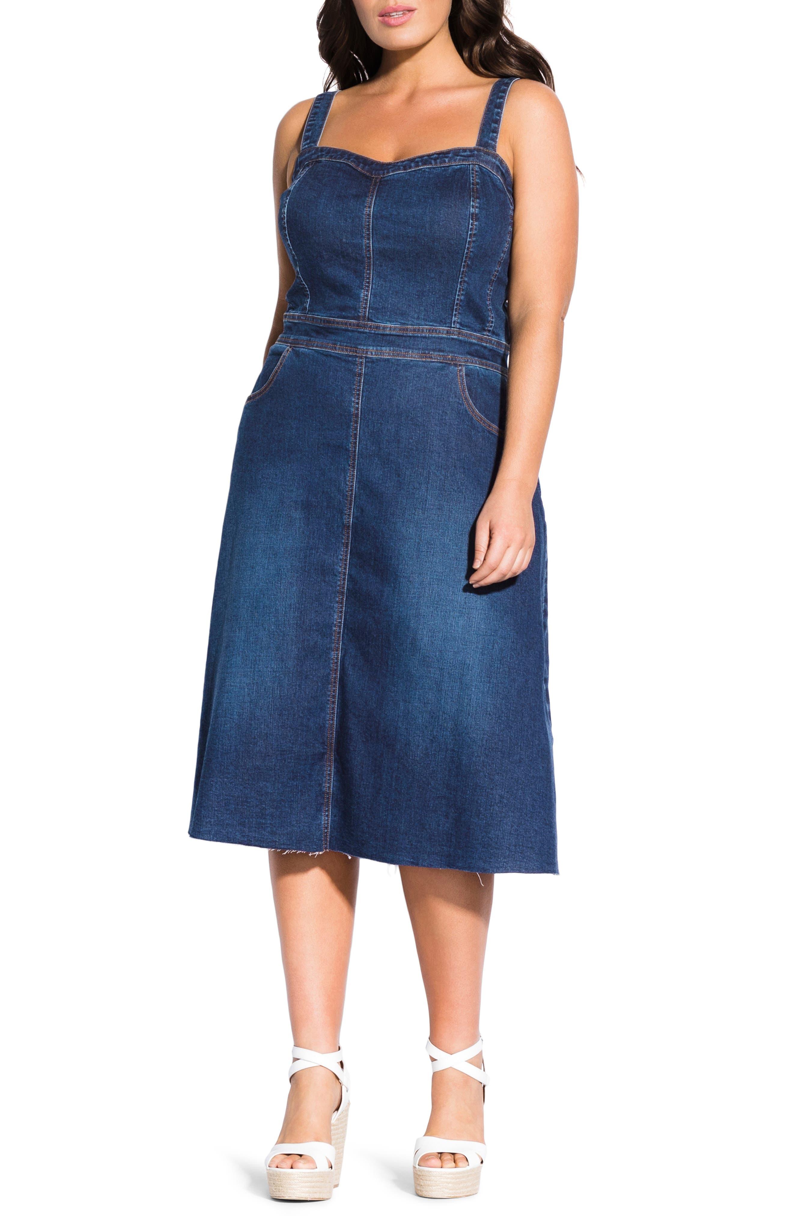 Plus Size City Chic Sweet A-Line Denim Dress, Blue