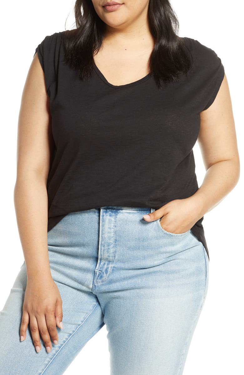 Caslon Shirred Sleeve Tee Plus Size