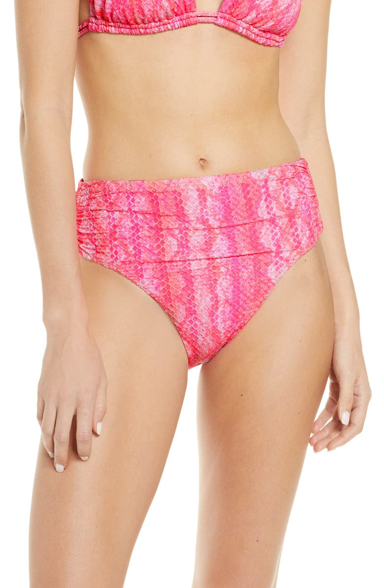 ISABELLA ROSE Vienna High Waist Tie Dye Bikini Bottoms, Main, color, PINK