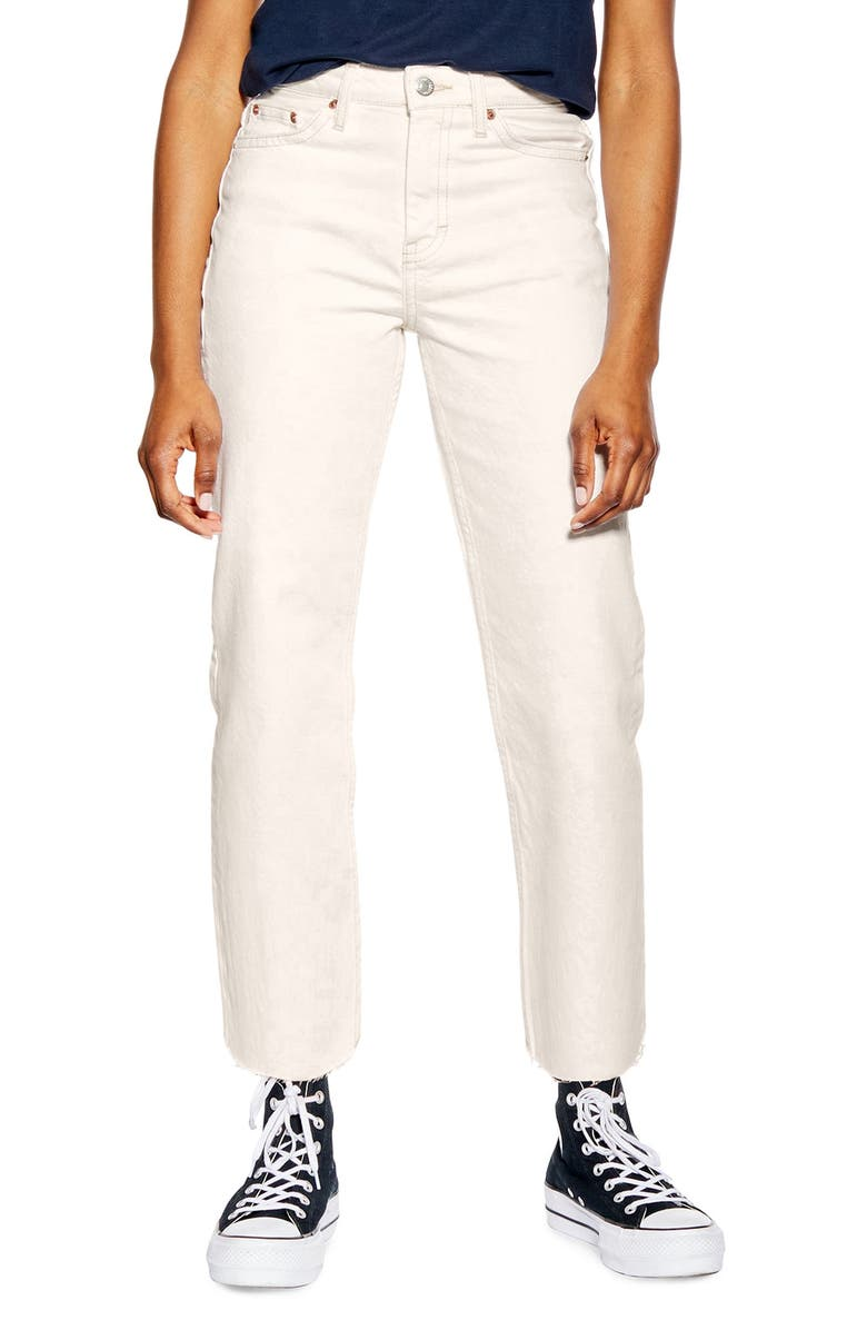 TOPSHOP Off White Raw Hem Straight Leg Jeans, Main, color, WHITE