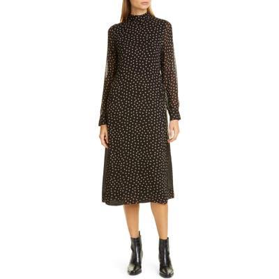 Ganni Print Long Sleeve Midi Dress