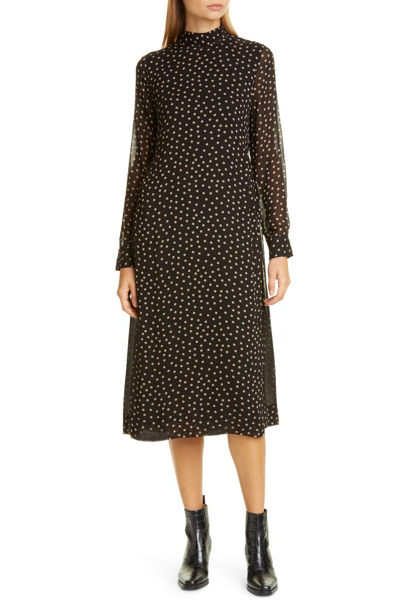 GANNI Print Long Sleeve Midi Dress, Main, color, BLACK