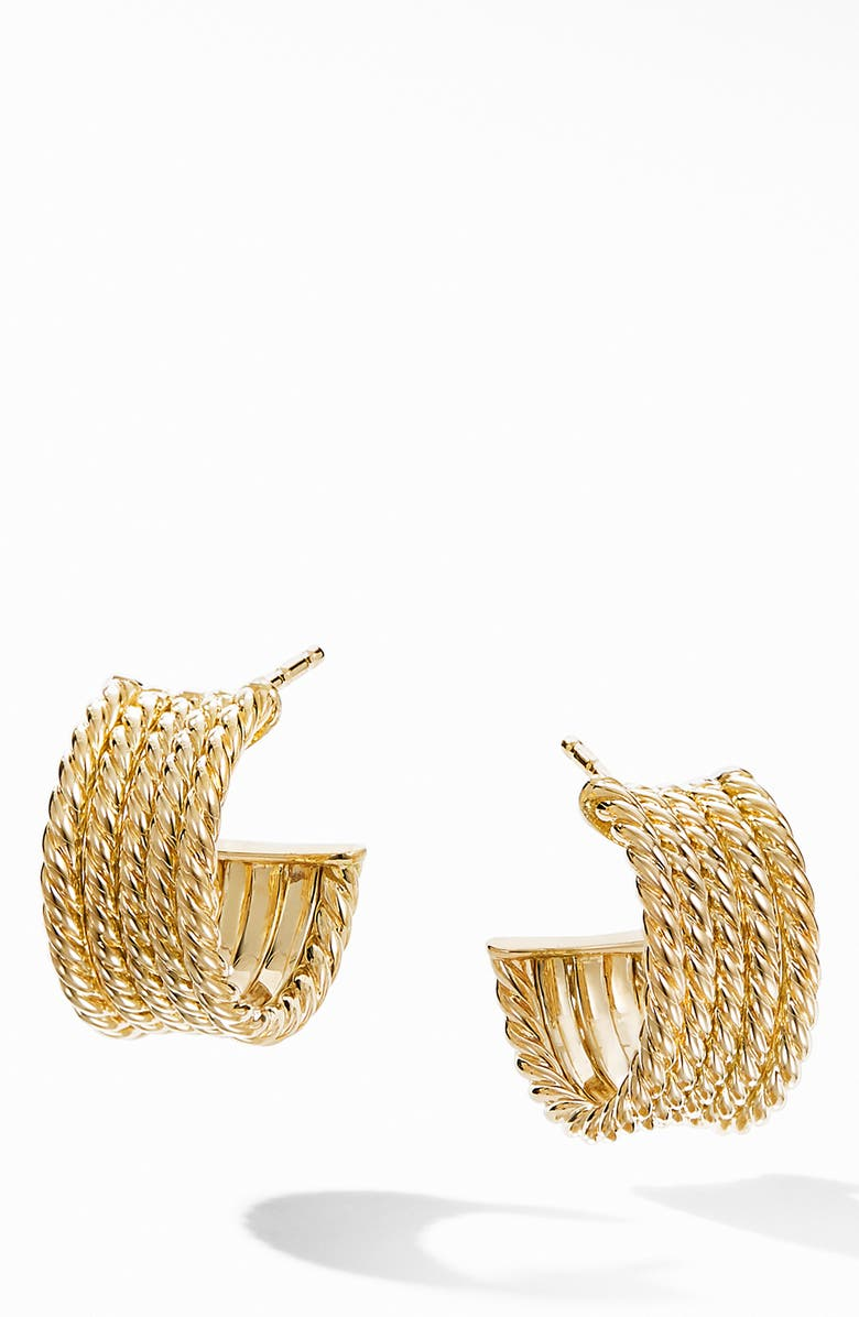 DAVID YURMAN Origami Cable Huggie Hoops in 18K Yellow Gold, Main, color, YELLOW GOLD