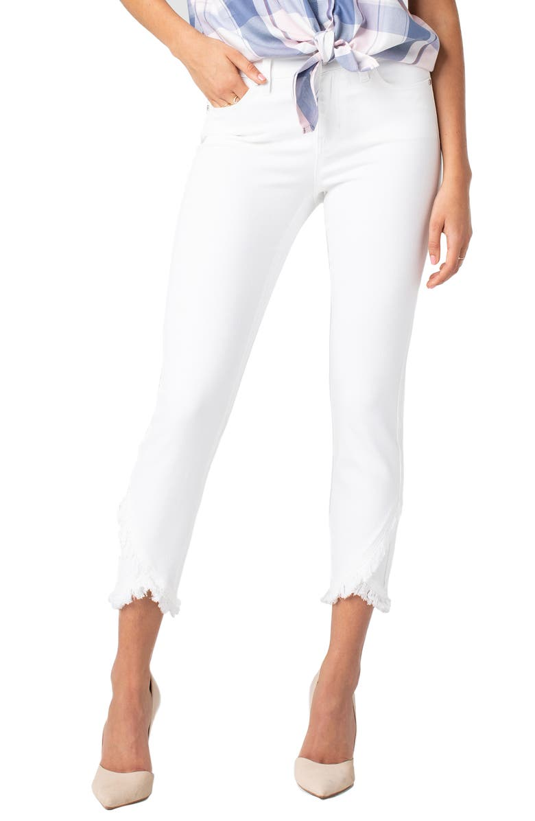LIVERPOOL Abby Frayed Crop Skinny Jeans, Main, color, BRIGHT WHITE