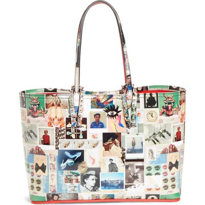 Christian Louboutin Small Cabata Collage Patent Leather Tote - White