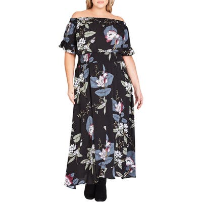 Plus Size City Chic Blossom Festival Maxi Dress, Black