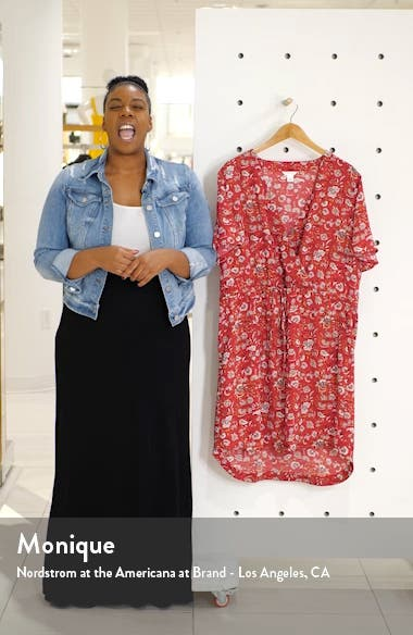 Paisley Print Flutter Sleeve Crepe Dress, sales video thumbnail