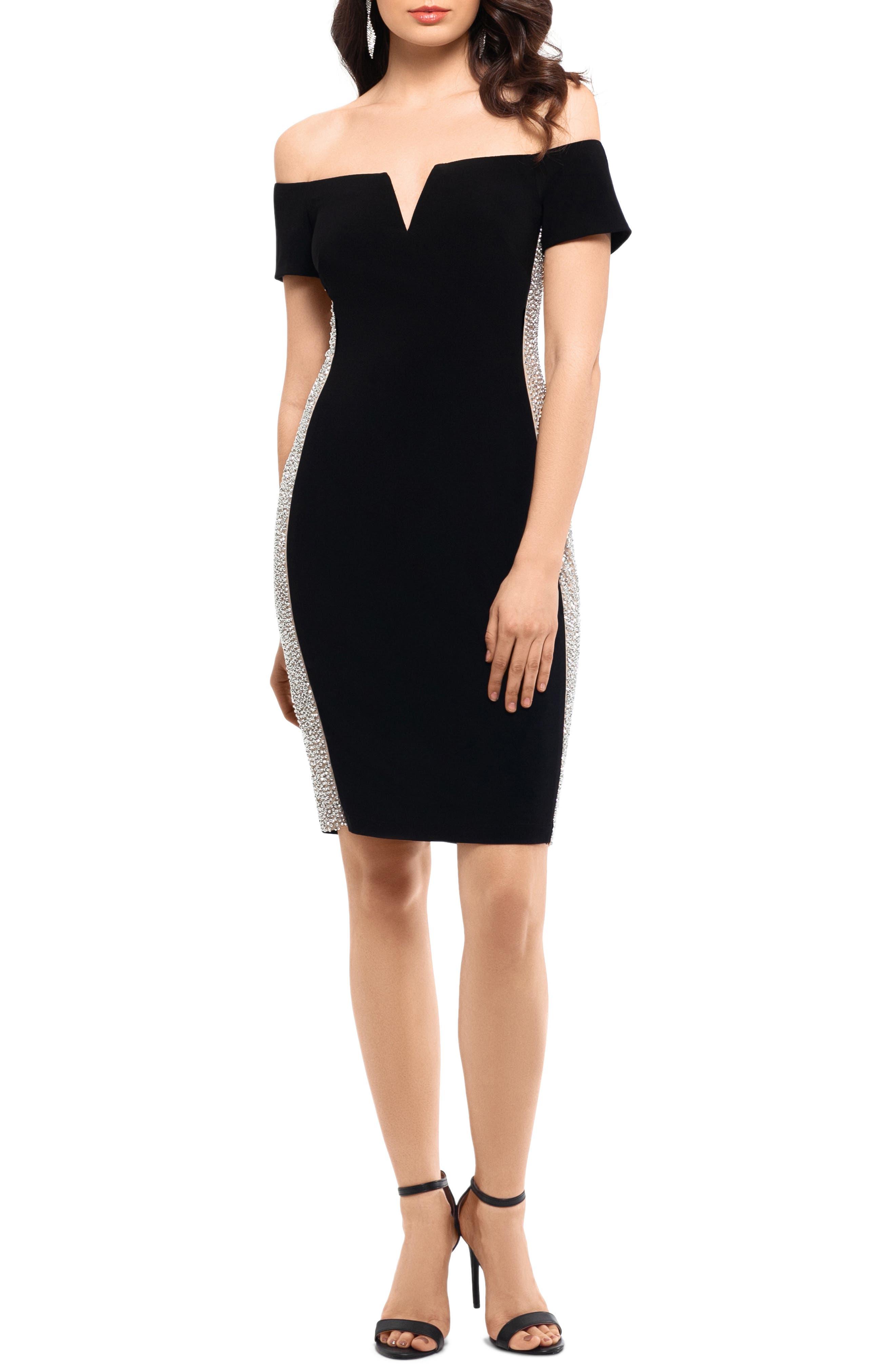 Xscape Beaded Side Stripe Off The Shoulder Cocktail Dress, Black