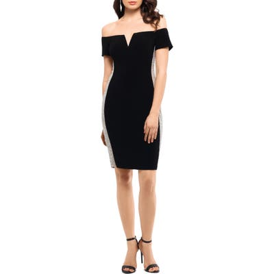 Xscape Beaded Side Stripe Off The Shoulder Cocktail Dress, Black