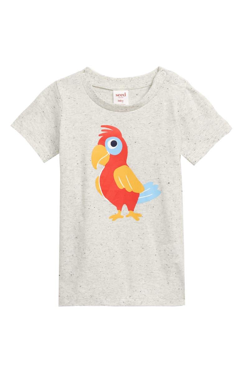 SEED HERITAGE Parrot Graphic T-Shirt, Main, color, WHITE SPECKLE