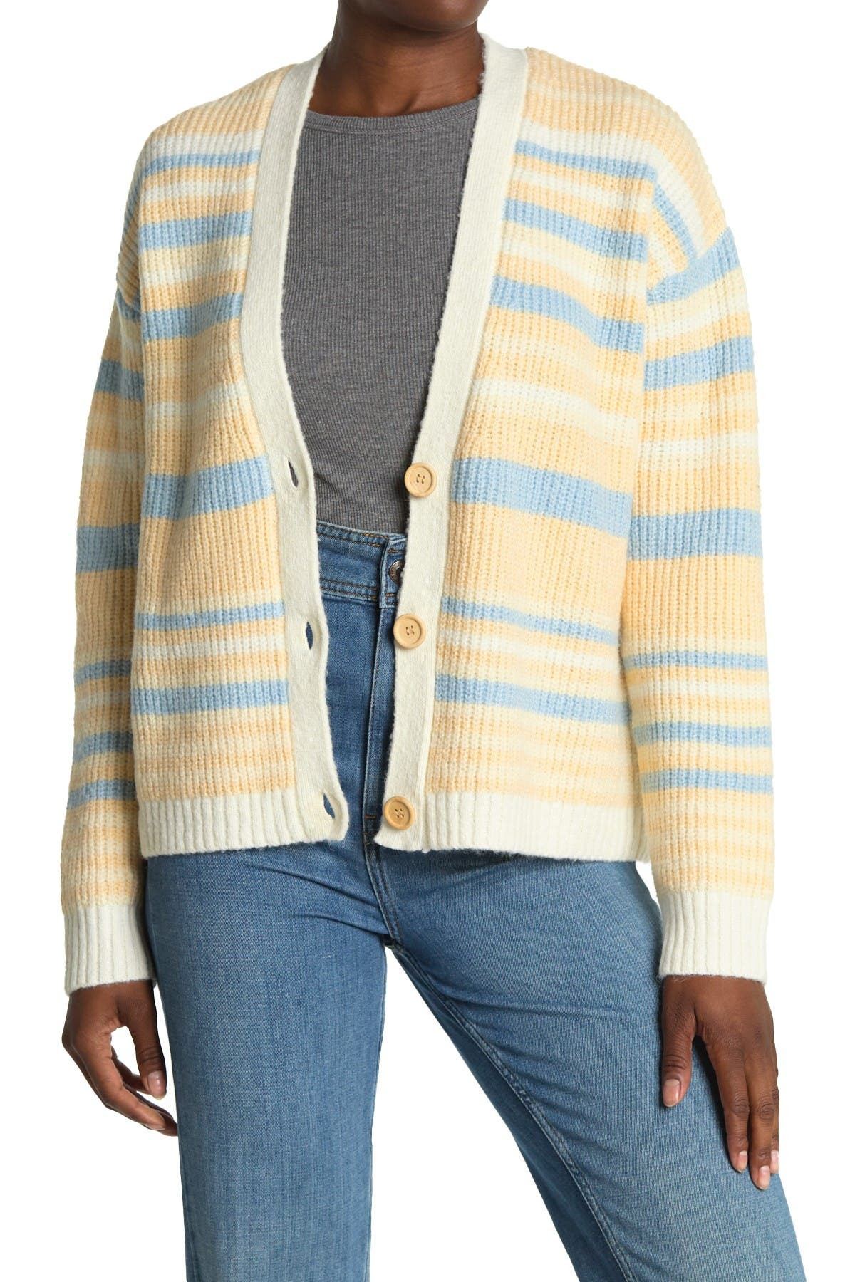 Image of ALL IN FAVOR Striped V-Neck Button Cardigan