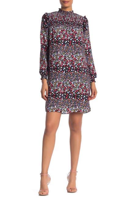 Image of NANETTE nanette lepore Long Sleeve Mock Neck Floral Printed Dress