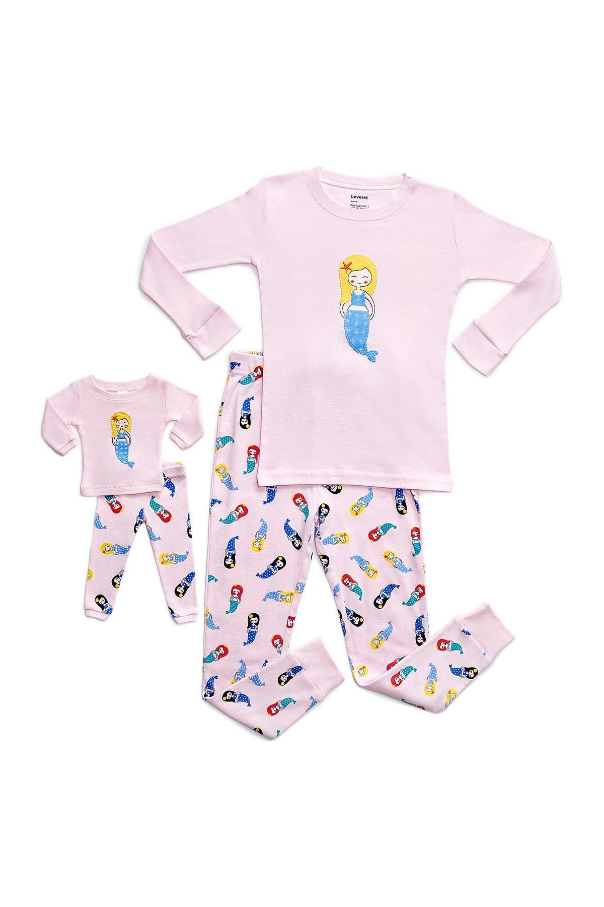 Image of Leveret Mermaid Pajama & Matching Doll Pajama Set