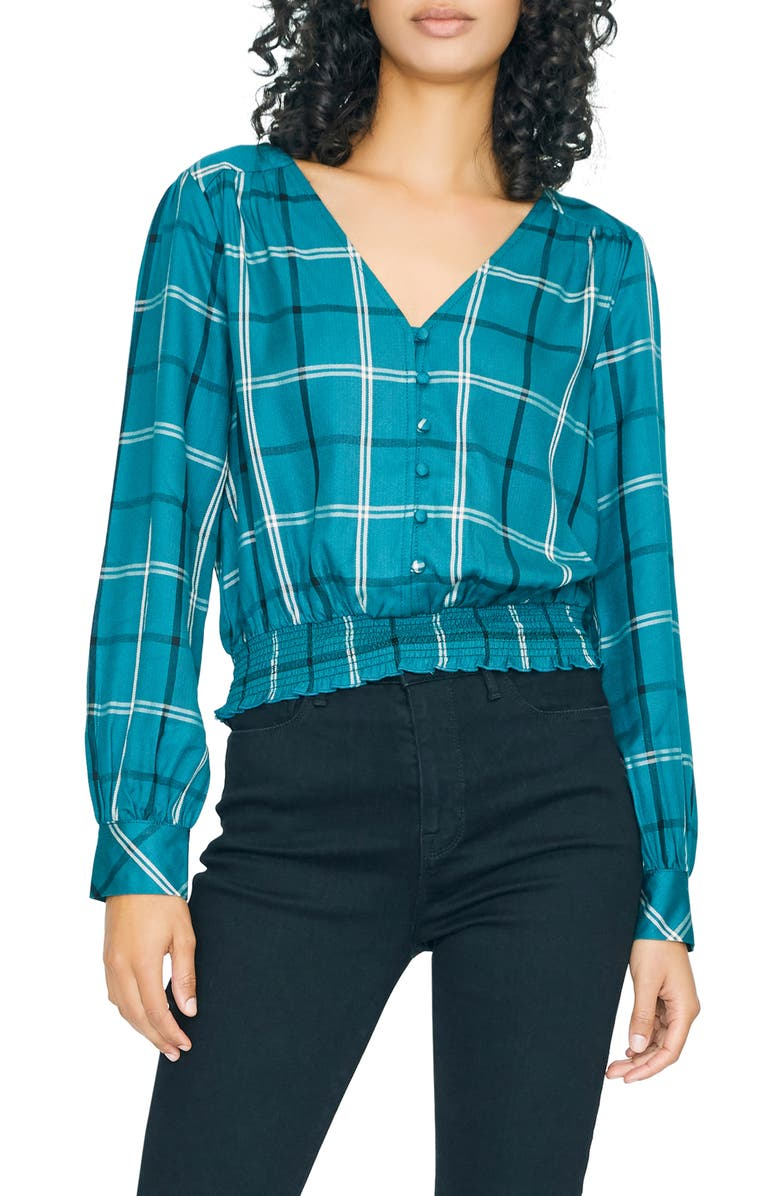SANCTUARY Fool For You Plaid Smock Waist Blouse, Main, color, MINERAL PLAID