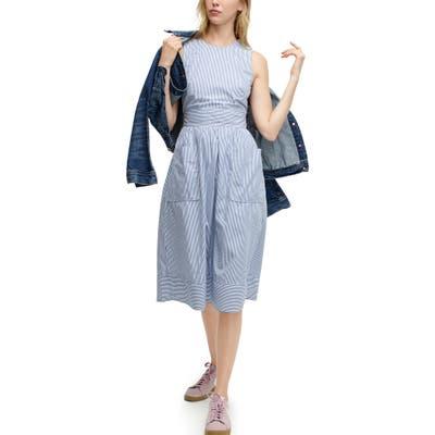 J.crew Stripe Cotton Poplin Apron Dress, Blue