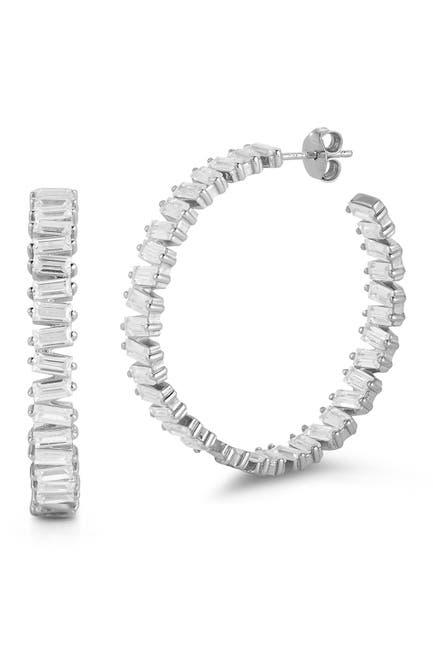 Image of Sphera Milano Silver Baguette Hoop Earrings
