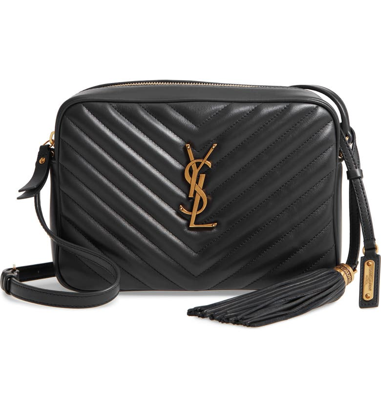 SAINT LAURENT Lou Matelassé Leather Camera Bag, Main, color, NERO