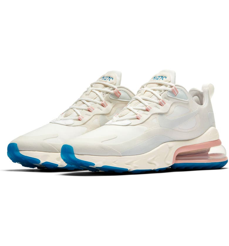NIKE Air Max 270 React Sneaker, Main, color, SUMMIT WHITE/ AQUA/ PHANTOM