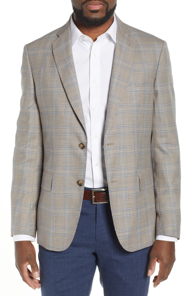 JOHN W. NORDSTROM<SUP>®</SUP> Traditional Fit Plaid Wool Sport Coat, Main, color, TAN FOSSIL BLUE JASPE PLAID