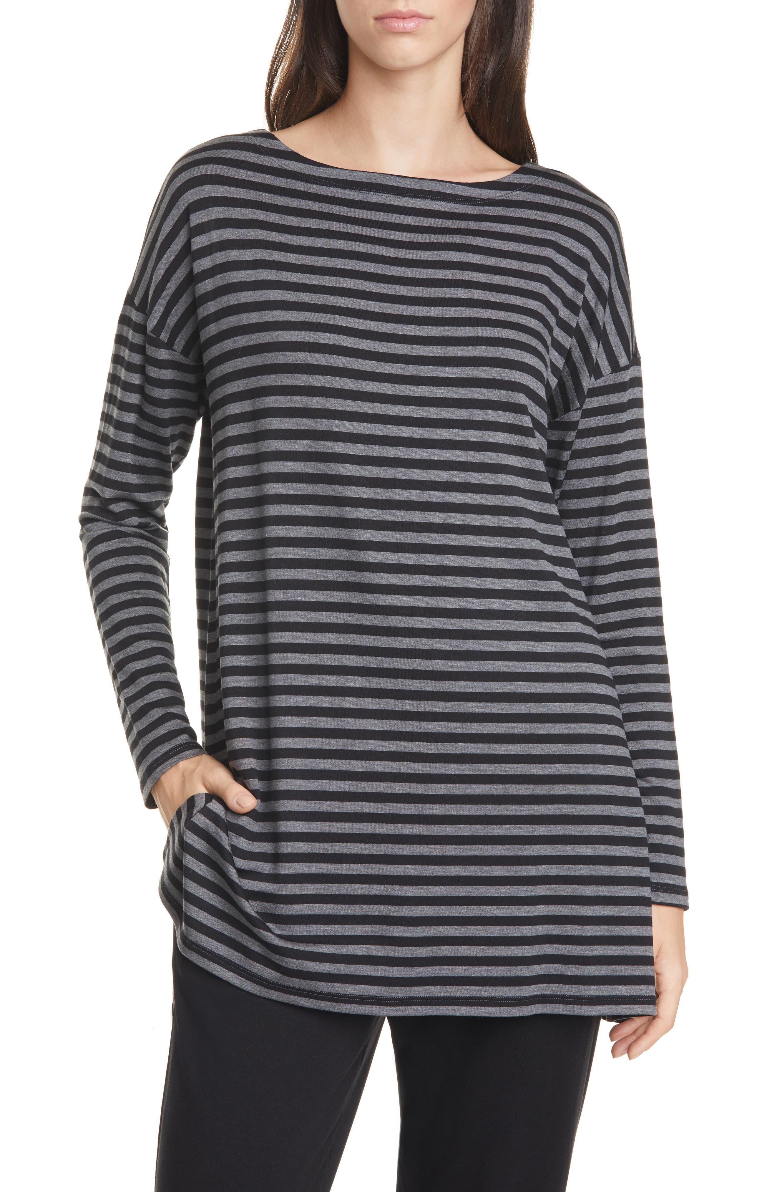 Eileen Fisher Tops Bateau Neck Stripe Top