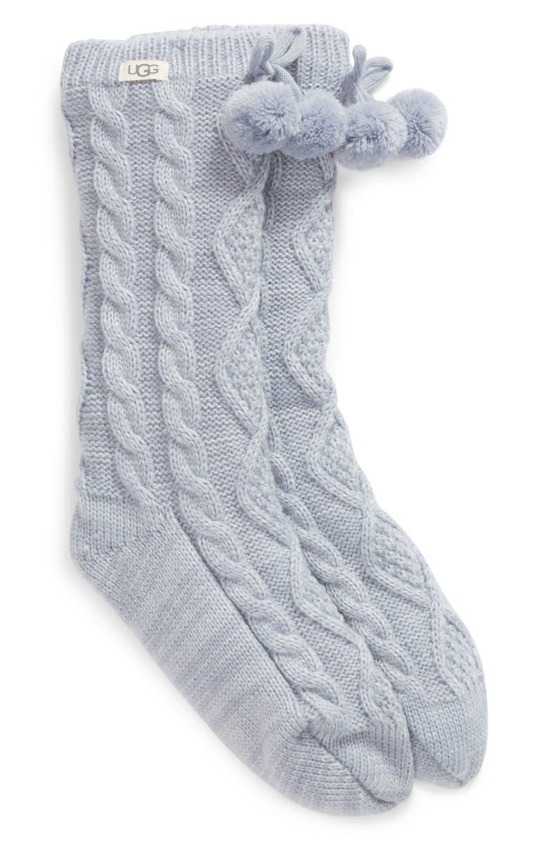 UGG<SUP>®</SUP> Pom Pom Fleece Lined Socks, Main, color, FRESH AIR
