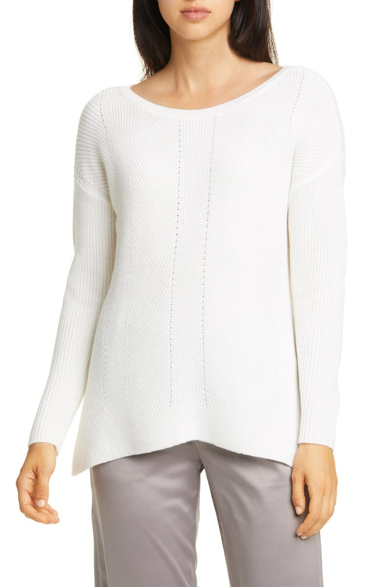 EILEEN FISHER Bateau Neck Merino Wool Sweater, Main, color, WHITE