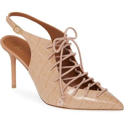 Malone Souliers Alessandra Lace-Up Pump, Beige