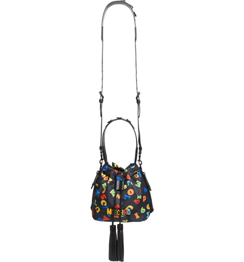 MOSCHINO Letter Fabric Bucket Bag, Main, color, FANTASY PRINT BLACK