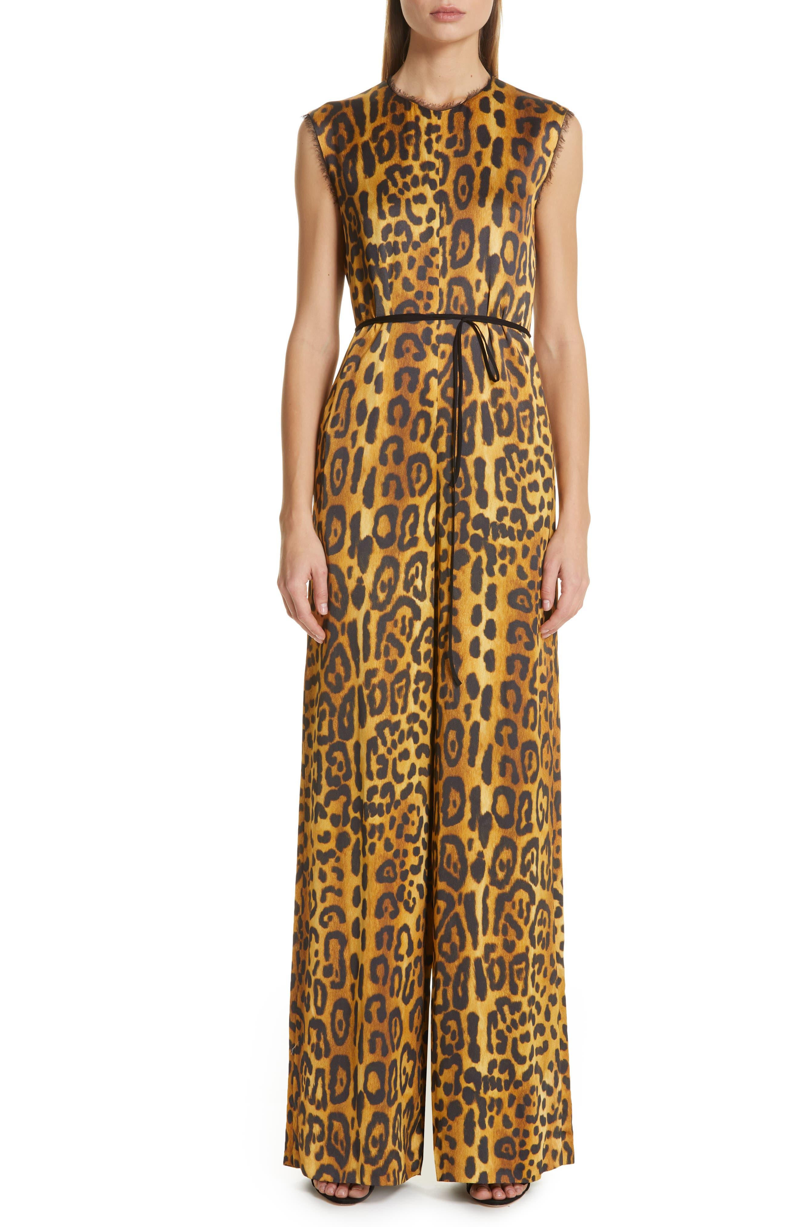 women's adam lippes jaguar print satin crepe jumpsuit